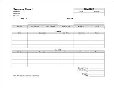 sample of $7.00 printable invoice template in DOC format