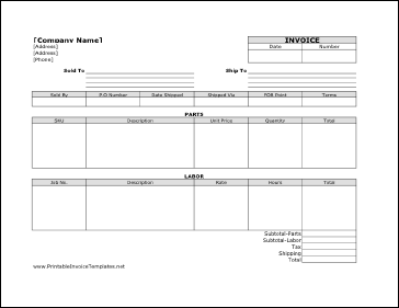 sample of $7.00 printable invoice template in XLS format