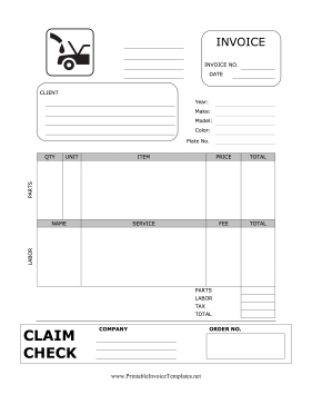 Auto Repair Invoice With Claim Check template