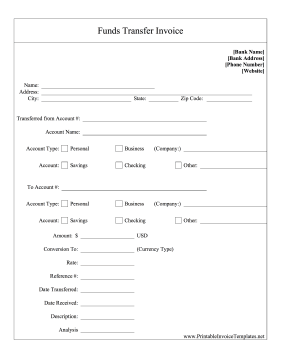 Bank Funds Transfer template