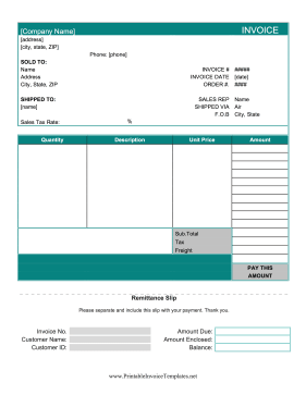Basic Invoice With Remittance Slip template
