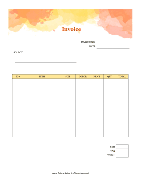 Clothing Sales Invoice template