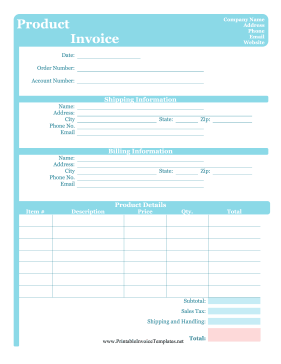 Cute Product Invoice Template - Free printable invoice templates download