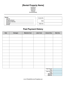 Damages Invoice template