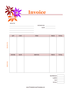Flowers Invoice template