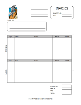 Home Repair Invoice template