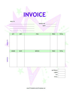 Kid Star Invoice template