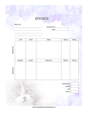 Kitty Invoice template