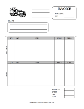 Paving Invoice template