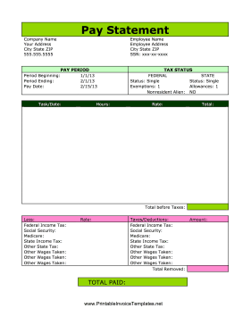 Pay Statement template