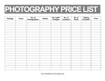 Price List Photography template