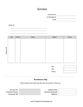 Product Invoice With Remittance Slip template