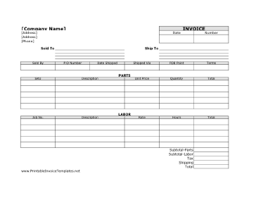 Labor Invoice Template - Parts and labor invoice template free